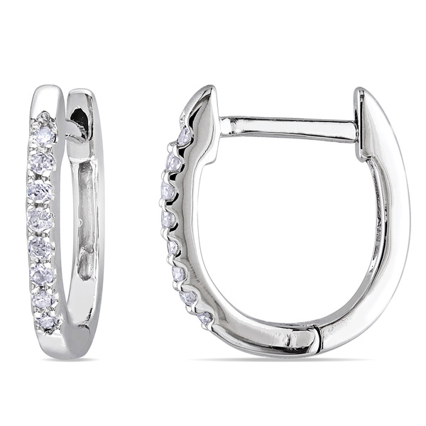 e4b75431dfade 10k White Gold 1/10ct TDW Diamond Hoop Earrings - Rodos Gold