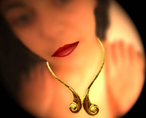 18k gold hammered necklace inspired by flat reliefs from the Mycenaic through post Hellenic periods