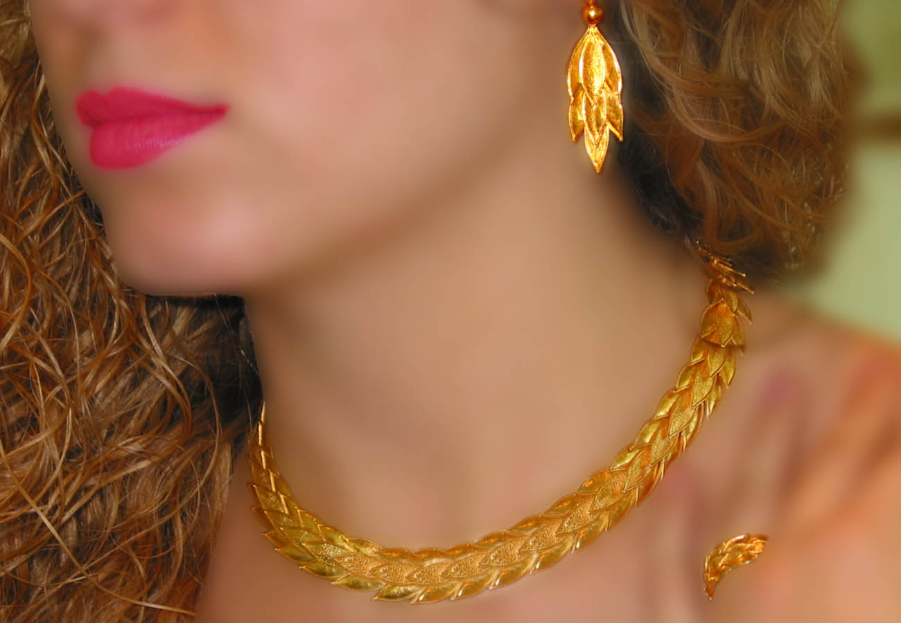 22k gold necklace inspired by a flowering myrtle tree wreath from the classical period