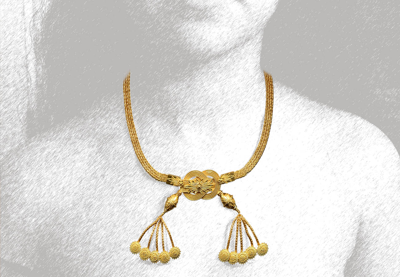 22k gold necklace with two chain straps and Herakles knot, late 4th - early 3rd century BC