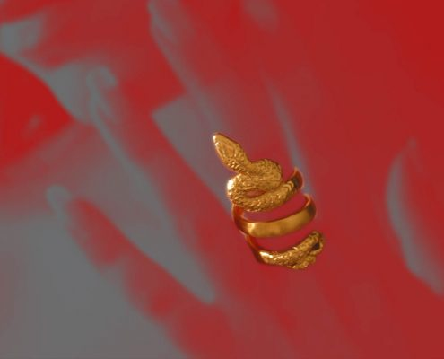 Gold ring in the shape of snake, Roman period, late 1st century BC - 1st centurey AC, Engraved and curved gold
