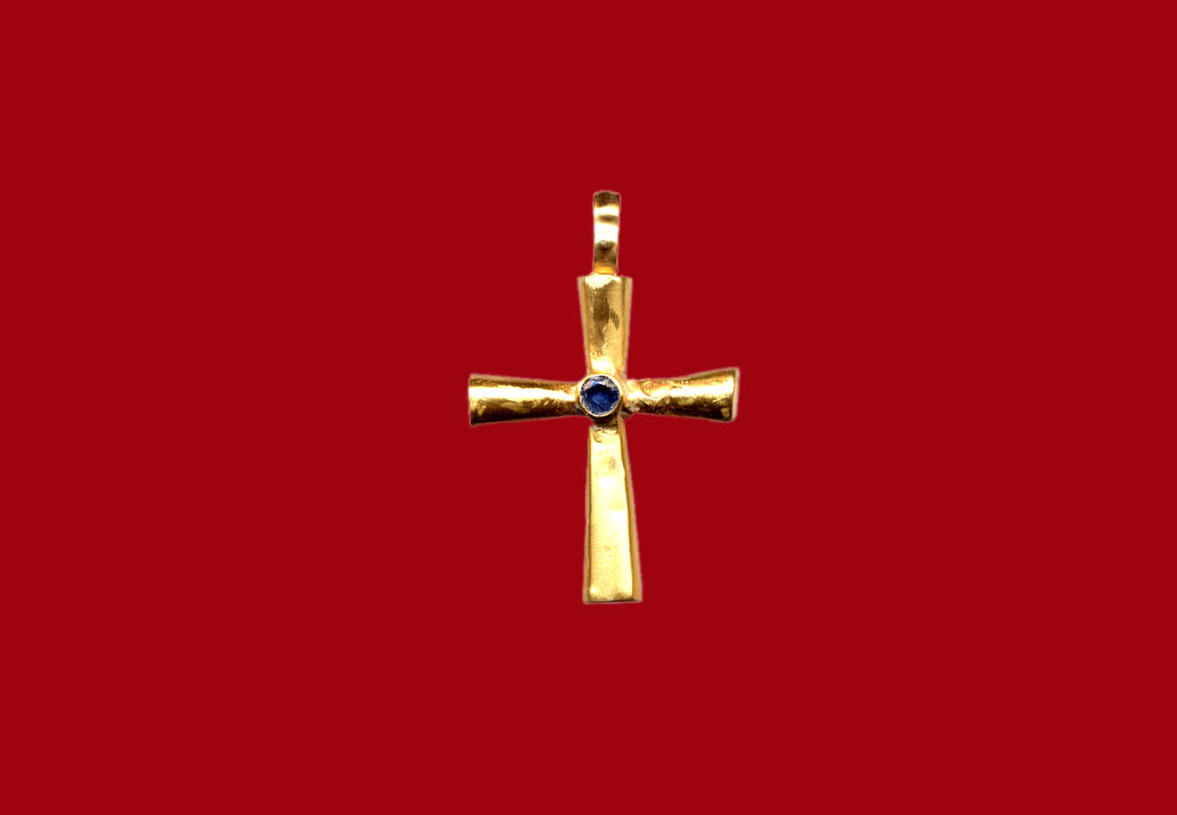 Golden pendant cross with a gemstone in the center, from a Treasure of Gold Jewels found in Constantinople