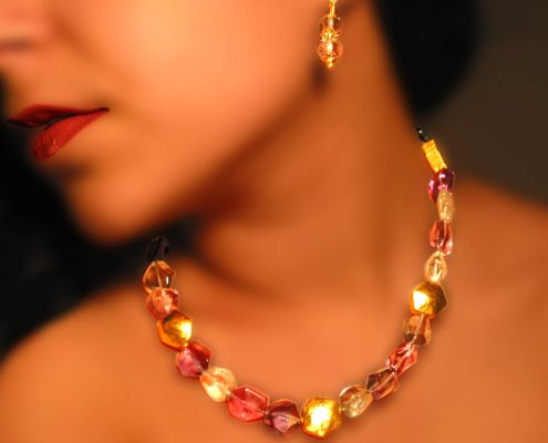 Creation in 22k gold with semi-precious stones