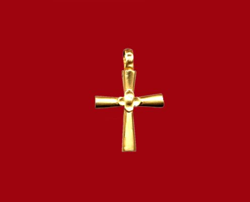 Golden cross with conical antennas, at their crossing there is a four-leaf rosette with a small glob in the center